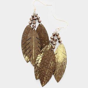 Leaf Genuine Leather Earrings